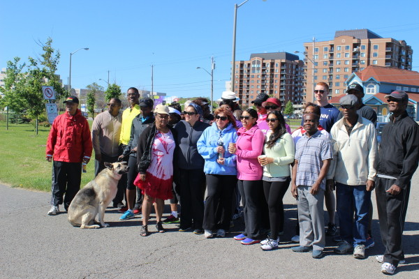 Walk-a-thon participants pose for a group picture