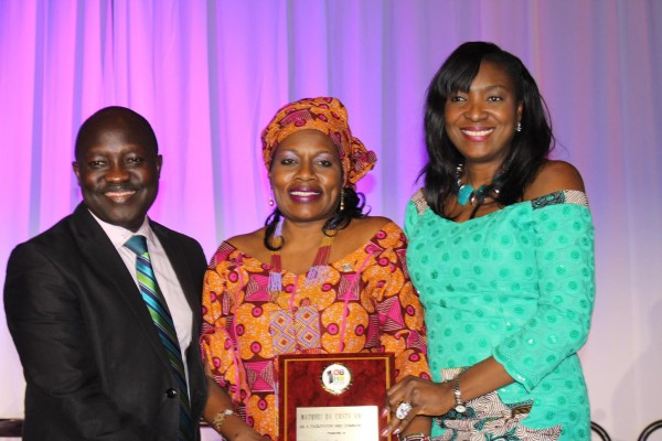 Award winner Sarah Onyango with Planet Africa TV founders Moses Mawa and Patricia Beba