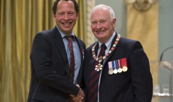Author Lawrence Hill is congratulated by Governor-General David Johnston Source: Toronto Star