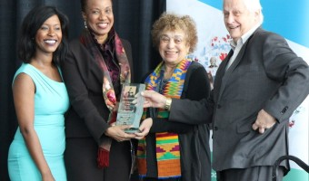 Lifetime award winner Margaret Best flanked by Denise Siele, left, June Girvan, 2nd right and Daniel Stringer, right