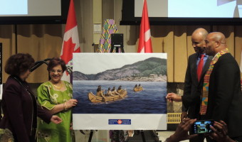 Senators Don Meredith, Mobina Jaffer, and Marie-Françoise Mégie with Immigration Minister Hussen Ahmed
