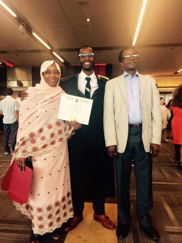 Ahmed Habre with his proud parents