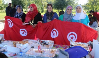 The Tunisian contingent shows off their national flag: Lamia, Suha, Emna, Marwa and Takova