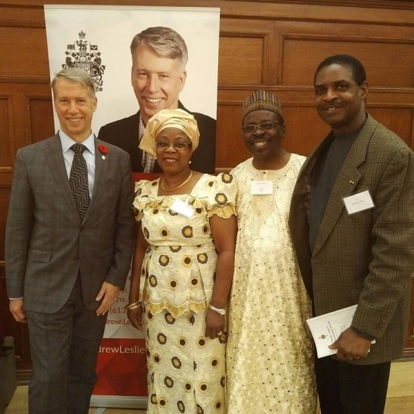 MP Andrew Leslie, left with Biola And Bashir Agoro and Yomi Pratt