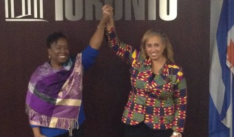 New President Natasha Henry, left, with Immediate Past President Nikki Clarke