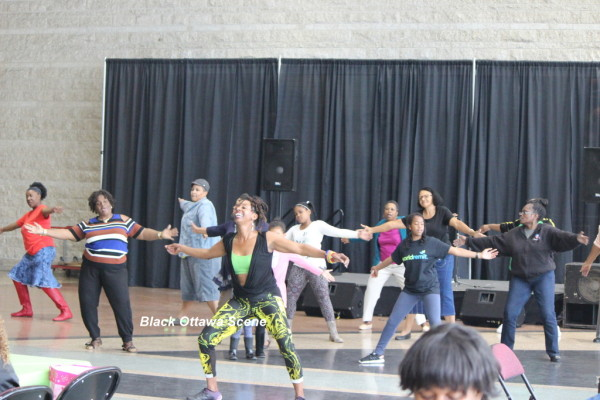 Tarah Mauricette leads participants through a dance/exercise routine