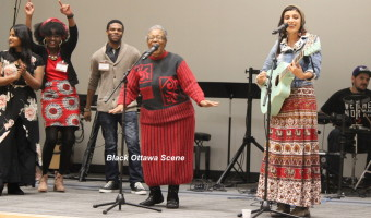 Adeline Mushi, centre, of Goats for Grannies project, leads the singing of iconic song Malaika
