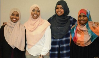Ifrah Hassan 2nd left with particiapants at the Iftar