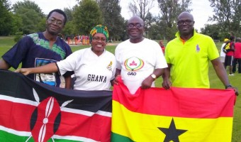 Ghana and Kenyan national flags on display with Ghana Association President, Bismark Otoo, Kenyan Sarah Onyango and Nigerian President  John Adeyefa