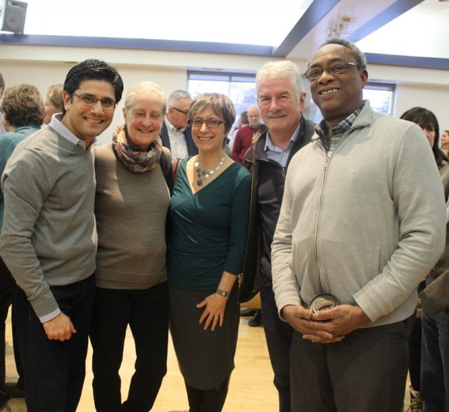 MPP Yasir Naqvi with Somerset West Health Centre Jack McCarthy, CCI Carl Nicholson and two supporters