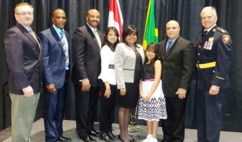 High Commissioner Janice Miller(centre) with Senator Don Meredith (3rd left), Police Chief Charles Bordeleau (right) and other dignitaries